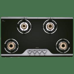 Elica TKN Crown DT 4 Burner Dual Tone Toughened Glass Gas Stove (Bakelite Knobs, 904 CT Vetro 2J, Black)_1
