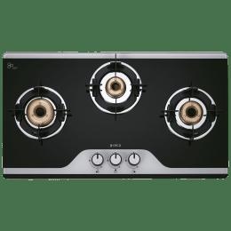 Elica TKN Crown DT AI 3 Burner Dual Tone Toughened Glass Gas Stove (Bakelite Knobs, 773 CT Vetro, Black)_1