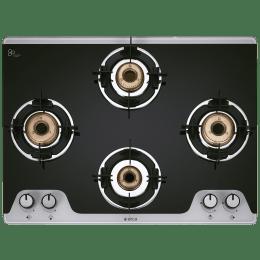 Elica TKN Crown DT 4 Burner Dual Tone Toughened Glass Gas Stove (Bakelite Knobs, 694 CT Vetro 2J, Black)_1