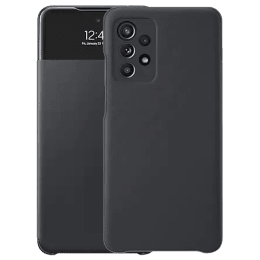 Samsung Smart S View TPU Flip Case For Galaxy A52 (Anti-Microbial Cover Protection, EF-EA525PBEGIN, Black)_1