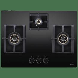 Elica Pro AB MFC 3B 70 DX 3 Burner Glass Built-in Gas Hob (Cast Iron Grids, 3126, Black)_1