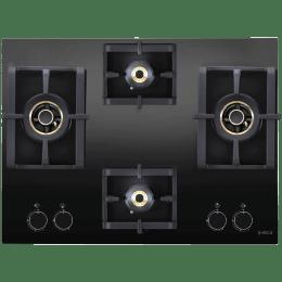 Elica Pro AB MFC 4B 70 DX 4 Burner Glass Built-in Gas Hob (Cast Iron Grids, 3124, Black)_1