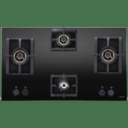 Elica Pro AB MFC 4B 91 DX 4 Burner Glass Built-in Gas Hob (Cast Iron Grids, 3038, Black)_1