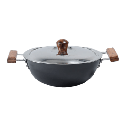 Wonderchef Ebony Wok For Induction, Stoves & Cooktops (Anodized Coating, 63152544, Black/Brown)_1