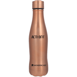Wonderchef Acti-Bot 0.65 Litres Stainless Steel Water Bottle (Spill and Leak Proof, 63153147, Copper)_1