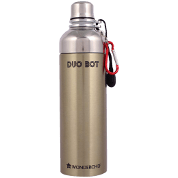 Wonderchef Duo-Bot 1 Litre Stainless Steel Water Bottle (Spill and Leak Proof, 63153156, Gold)_1