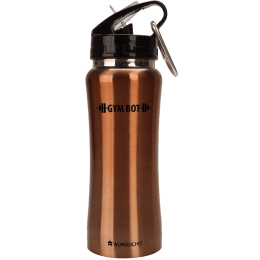 Wonderchef Gym-Bot 0.5 Litres Stainless Steel Water Bottle (Spill and Leak Proof, 63153152, Copper)_1