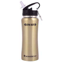 Wonderchef Gym-Bot 0.5 Litres Stainless Steel Water Bottle (Spill and Leak Proof, 63153150, Gold)_1