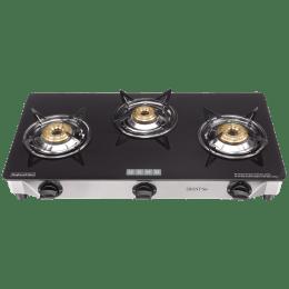 Usha Ebony Neo 3 Burner Glass Gas Stove (360 Degree Swivel Type Nozzle, GS3, Black)_1