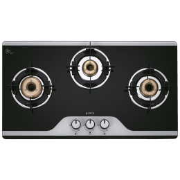Elica 3 Burner Glass Gas Stove (Double Drip Tray, 773 CT DT Vetro(TKN DT), Black/Silver)_1