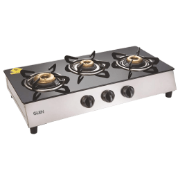 Glen CT1035GT 3 Burner Toughened Glass Top Gas Stove (Sturdy Pan Supports, Black)_1