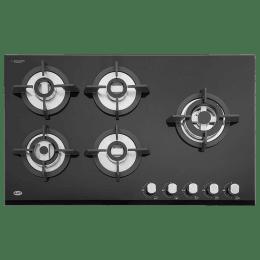 Kaff 5 Burner Black Tempered Glass Built-in Gas Hob (Stainless Steel Dip Tray, KH 86 BR 53, Black)_1