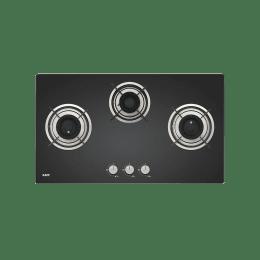 Kaff Crista 3 Burner Black Tempered Glass Built-in Gas Hob (Matt Enameled Pan Support, CRH 783, Black)_1