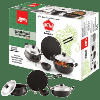 Natraj Anjali Cookware Set for Stoves & Cooktops (Heat Efficient, 4 Pcs. Carbon Jade, Black)_1