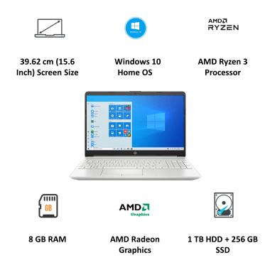 HP 15s-gr0012AU (35K35PA#ACJ) Ryzen 3 Windows 10 Home Single Language Thin and Light Laptop (8GB RAM, 1TB HDD + 256GB SSD, AMD Radeon Graphics, MS... 5