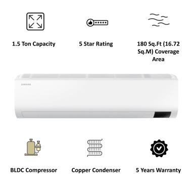 Samsung 1.5 Ton 5 Star Inverter Split AC (Convertible AC, Copper Condenser, AR18AY5ZBWK, White) 6