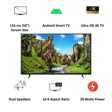 Sony Bravia X75 Series 126cm (50 Inch) Ultra HD 4K LED Android Smart TV (Voice Assistant Supported, KD-50X75, Black) 4