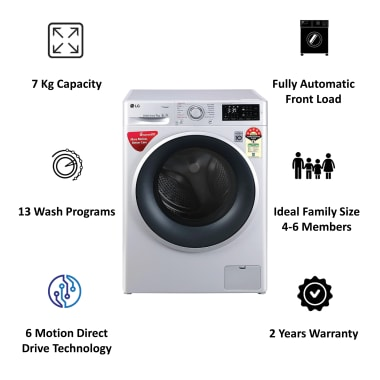LG 7 kg 5 Star Fully Automatic Front Load Washing Machine (Smart Diagnosis, FHT1207ZNL.ALSQEIL, Silver) 6