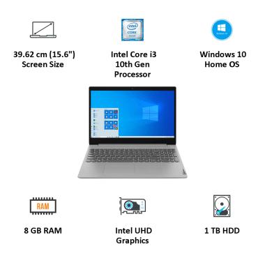 Lenovo IdeaPad 3 15IML05 (81WB015LIN) Core i3 10th Gen Windows 10 Home Laptop (8GB RAM, 1TB HDD, Intel UHD Graphics, MS Office, 39.62cm, Platinum... 6