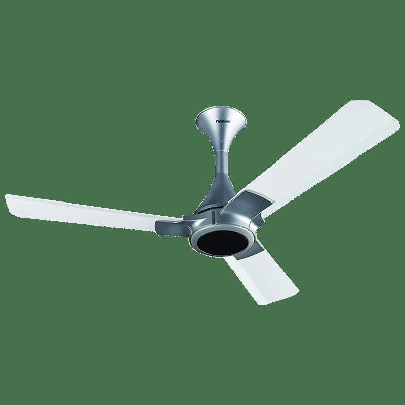 Panasonic 12XAA 120cm Sweep 3 Blade Ceiling Fan (High Speed Motor, 13239WSL, White/Silver)