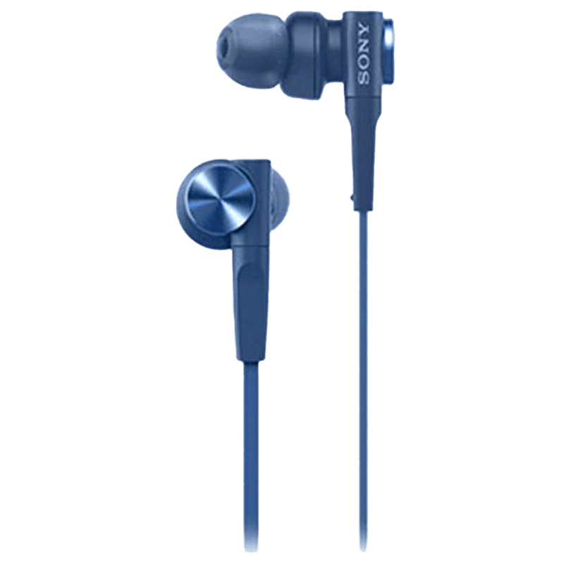 Sony In-Ear Wired Earphones with Mic (MDR-XB55AP, Blue)