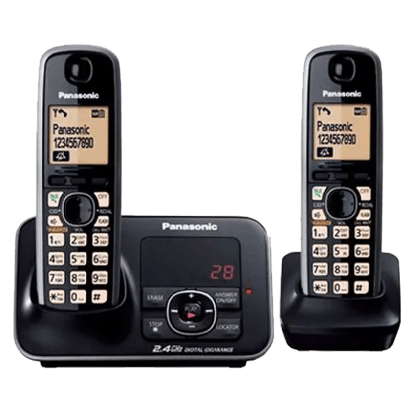 Panasonic Duo Cordless Phone (KX-TG3722BX, Black)