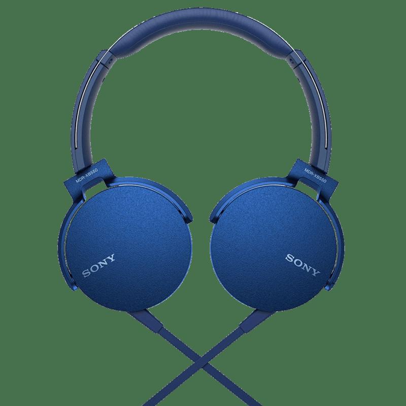 Sony MDR XB550AP On Ear Headphones with Mic (Blue)