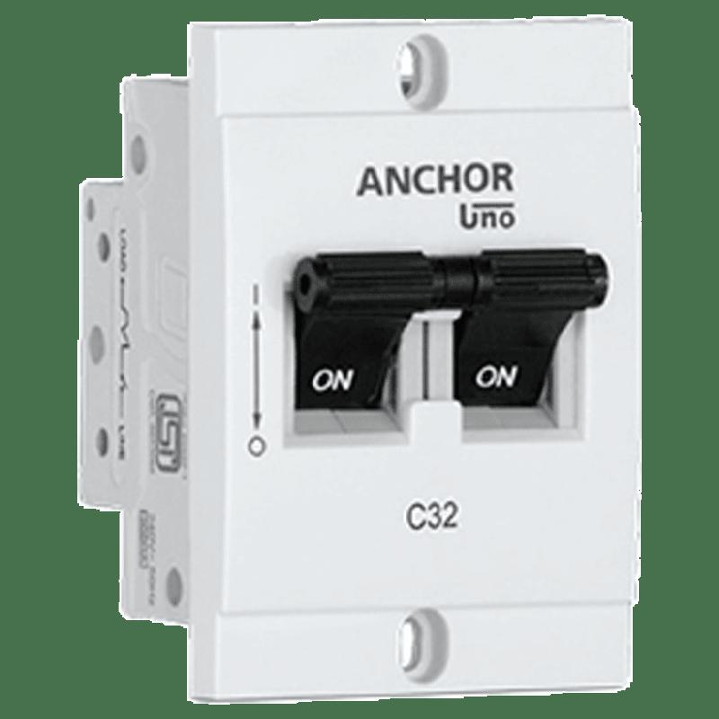 Anchor Uno Mini 32A DP - C Type MCB (98251, White)