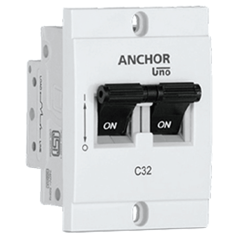 Anchor Uno Mini 25A DP - C Type MCB (98250, White)