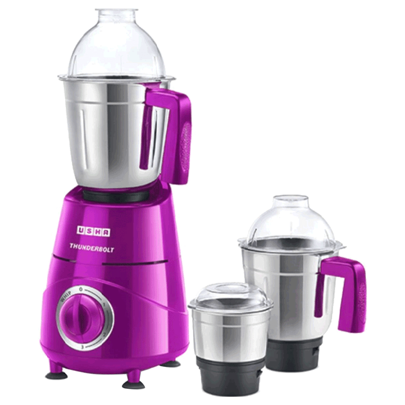 Usha Thunderbolt 800 Watt 3-in-1 Mixer Grinder (TH800MX3, Magenta)