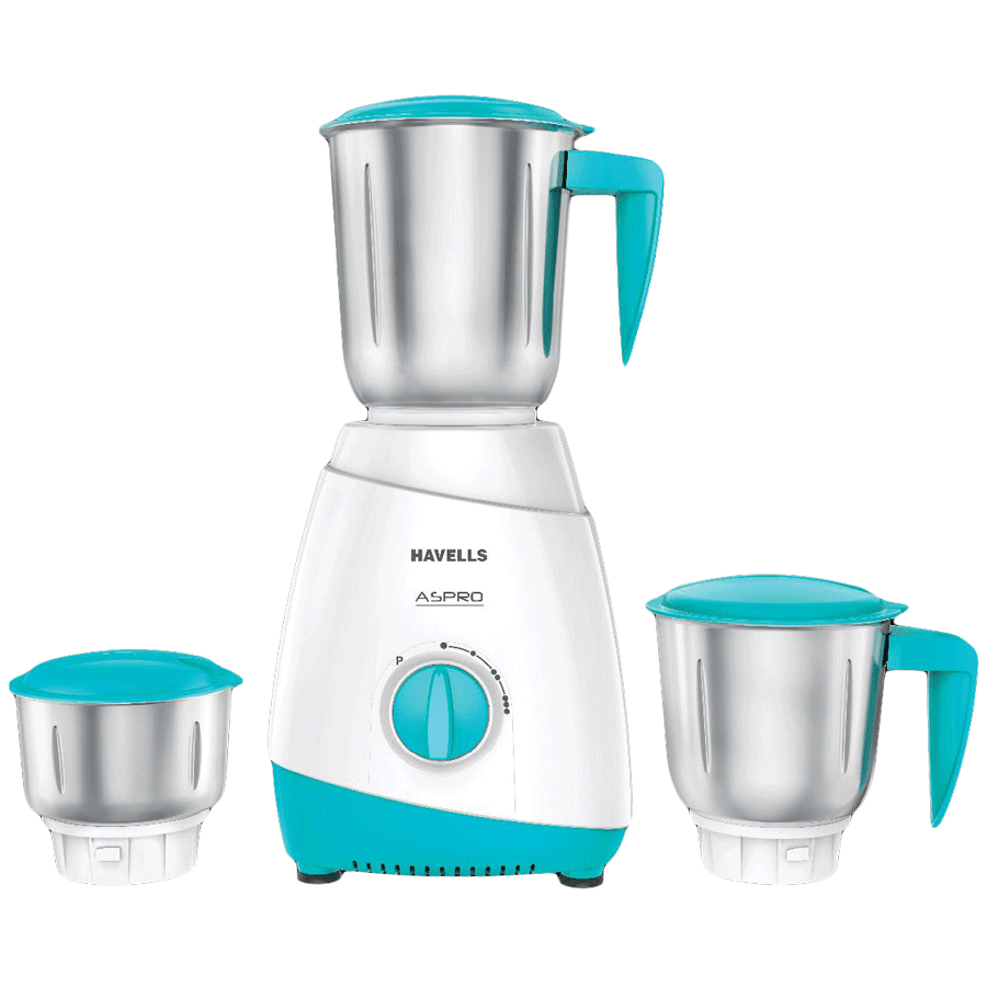 Havells Aspro 500 Watts 3 Jars Mixer Grinder (Locking System, GHFMGAZB050, Light Blue)