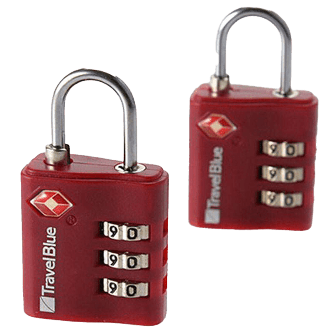 Travel Blue 2 x TSA Combi Locks (38, Red)