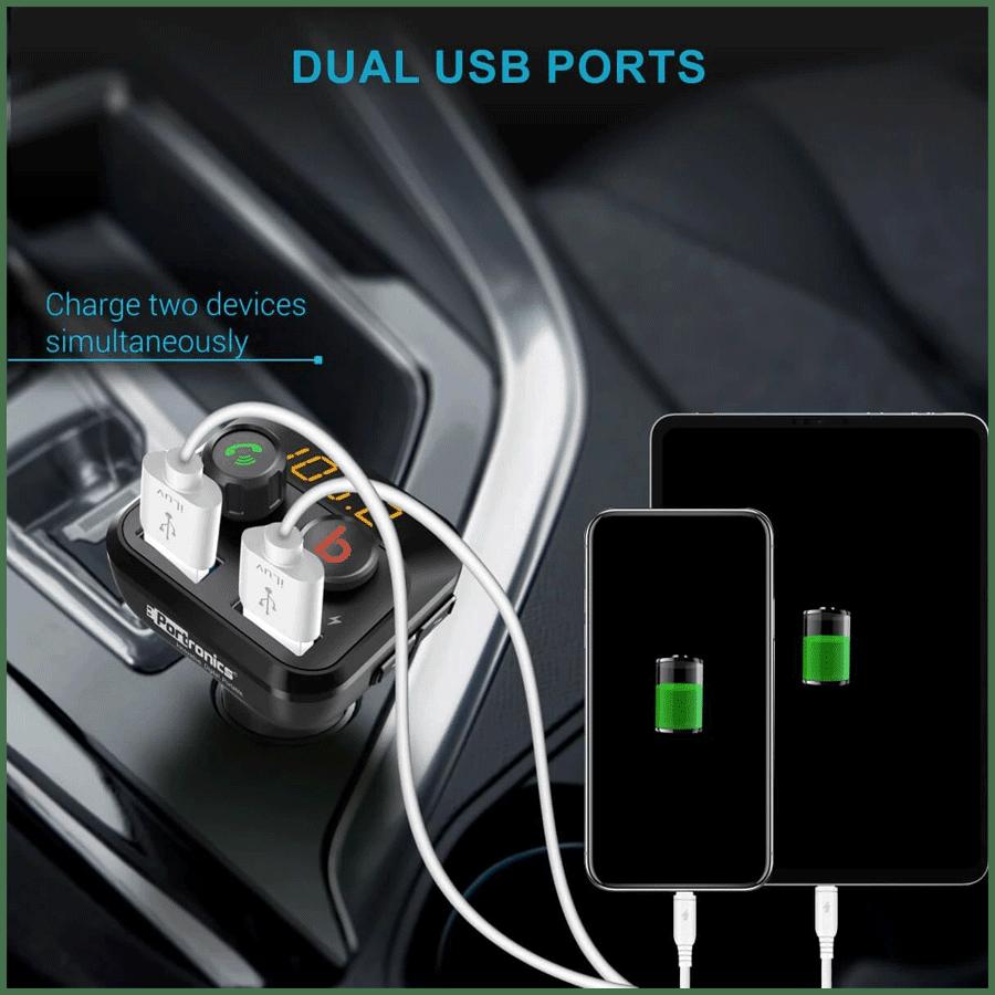 Portronics Auto 10 Bluetooth & USB Car Charging Adapter (POR 320, Black)_5
