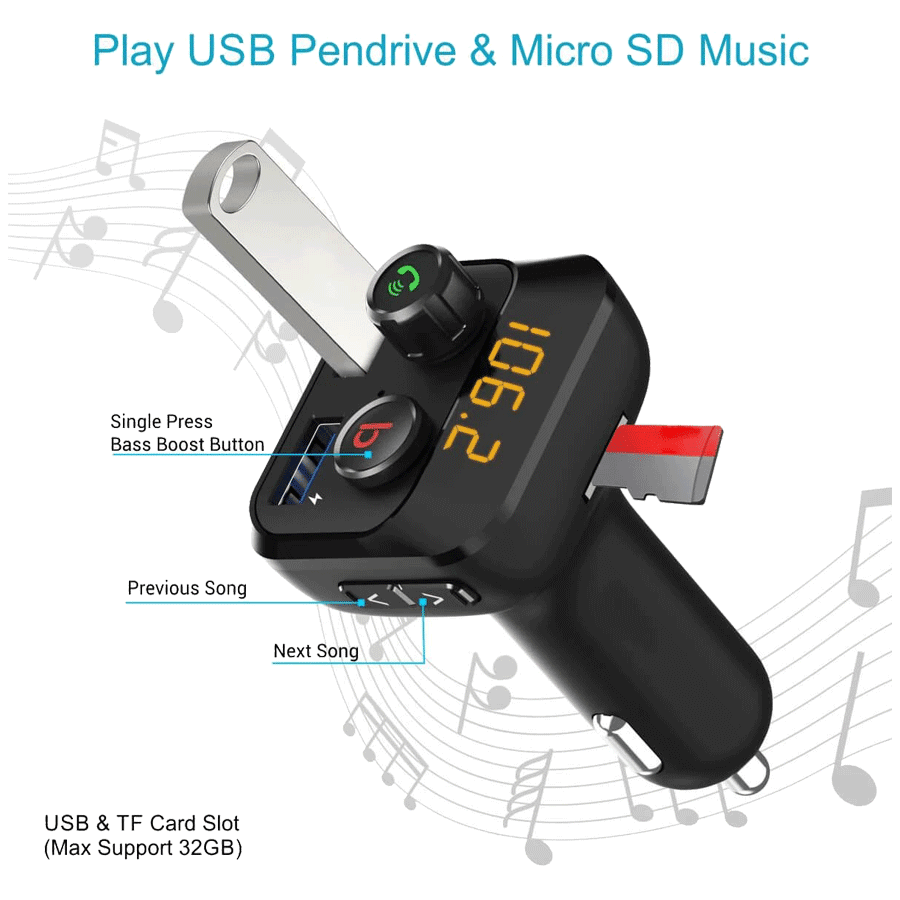 Portronics Auto 10 Bluetooth & USB Car Charging Adapter (POR 320, Black)_3