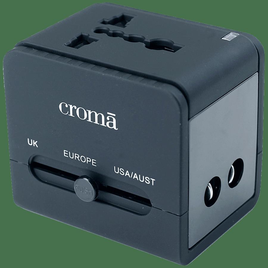 Croma 2.1 Amp Universal Dual USB Wall Charging Adapter (CREP0144, Black)
