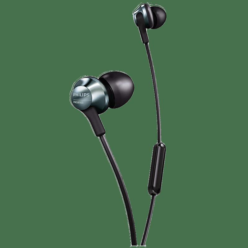 Philips In-Ear Wired Earphones with Mic (PRO6105BK/00, Black)
