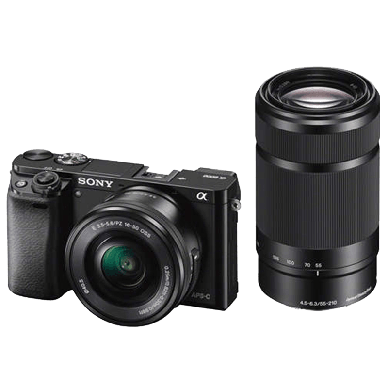 Sony ILCE-6000Y 24.3 MP Mirrorless Digital SLR Camera with 16-50 mm and 55-210 mm Lenses