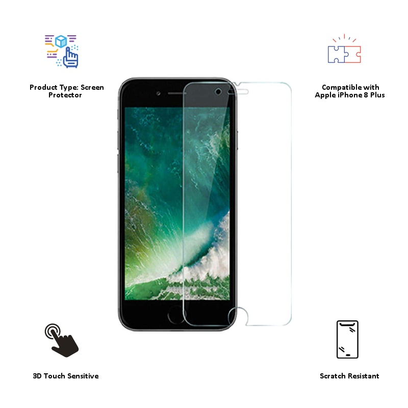 Catz Tempered Glass Screen Protector for Apple iPhone 8 Plus (CZAI8SP-TG0, Transparent)_3