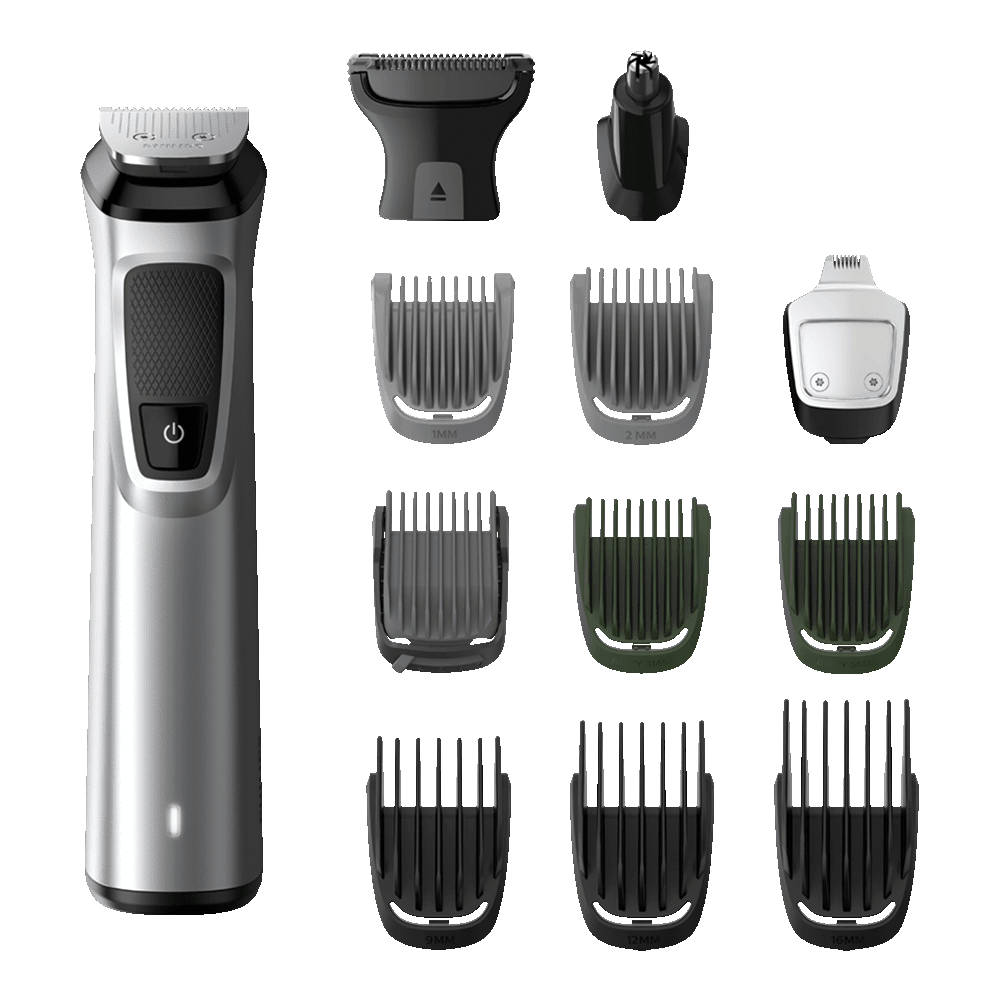 Philips Multigroom Series 7000 Self-sharpening Steel Blades Cordless 13-in-1 Body Grooming Kit (MG7715/15, Silver)