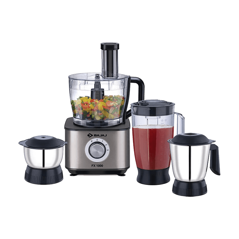 Bajaj 1000 Watt Food Processor (FX-1000, Black/Silver)