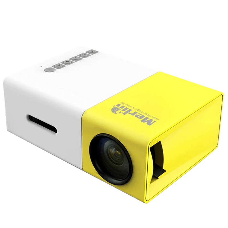 Merlin LCD PRJ HD Projector (20 Lumens, USB 2.0 + HDMI, Palm Sized Projector, White/Yellow)