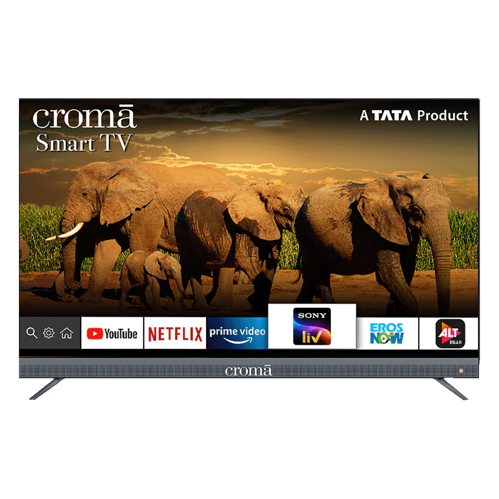 Croma 139.7cm (55 Inch) 4K Ultra HD LED Smart TV (Dual Box Speakers, EL7347, Black)