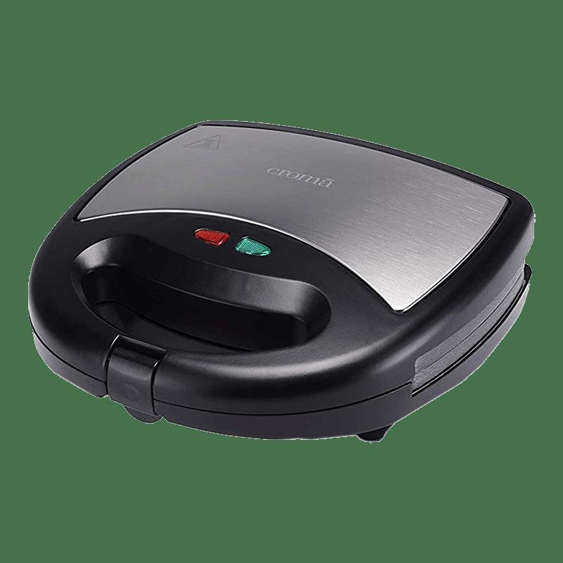 Croma 800 Watt 2 Slice 3-in-1 Sandwich Maker (CRK7001, Black)