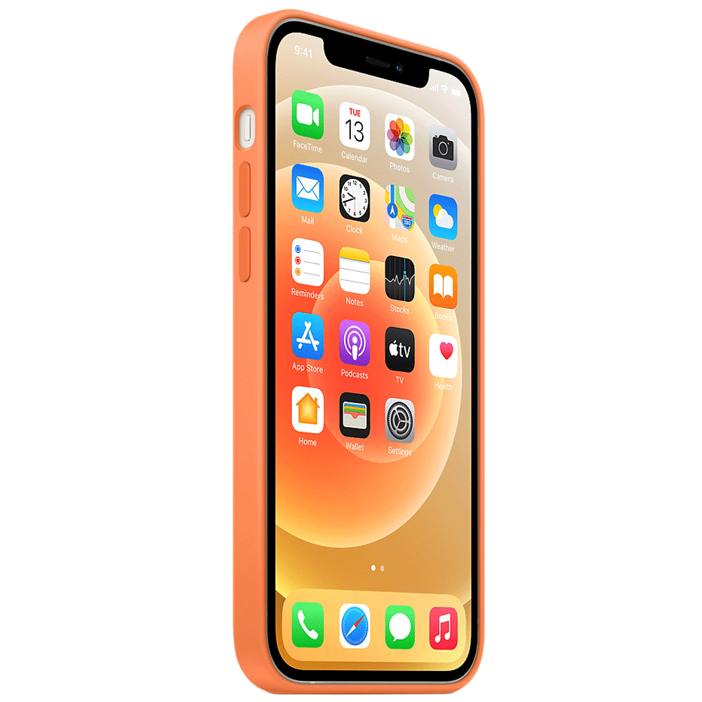 Apple Silicone Back Case For iPhone 12 Pro Max (Magsafe Charging Accessibility, MHL83ZM/A, Kumquat)_3