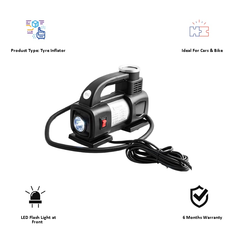 RNG Eko Green Heavy Duty Supersonic High Speed Tyre Inflator for Car/Bike with LED (RNG 1313, Black)_3
