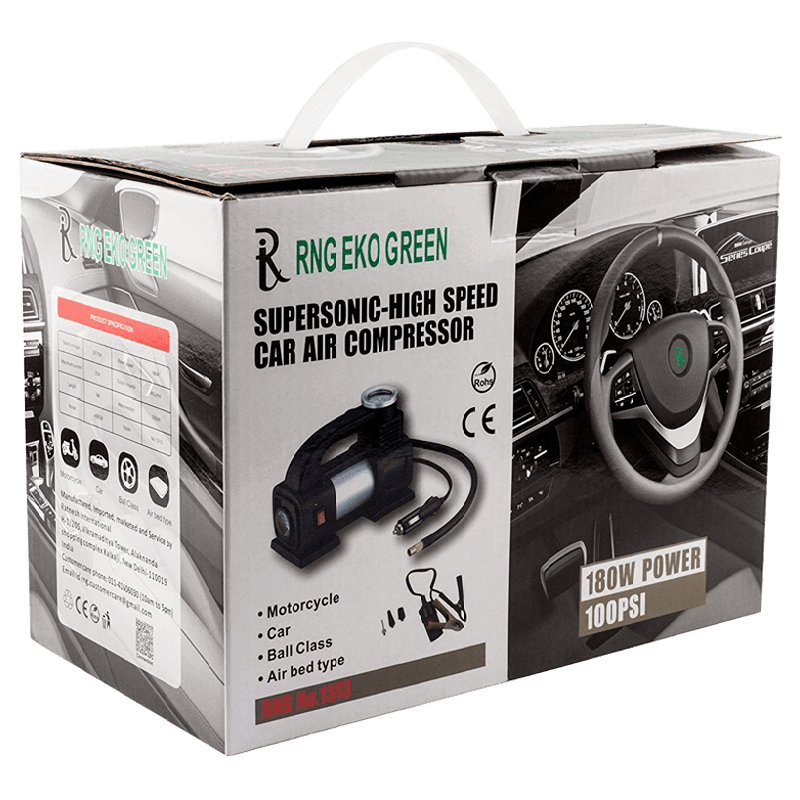 RNG Eko Green Heavy Duty Supersonic High Speed Tyre Inflator for Car/Bike with LED (RNG 1313, Black)_7