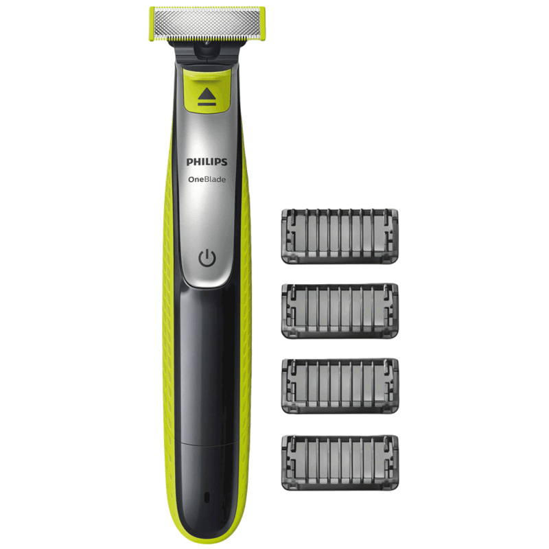Philips OneBlade Face Cordless Wet & Dry Trimmer & Shaver (60 Min Run Time/4h Charge, QP2532/20, Lime Green/Charcoal Grey)