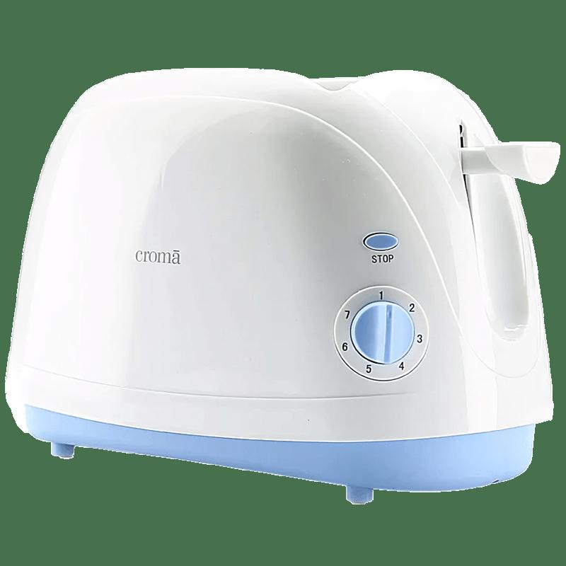 Croma 800 Watt 2 Slice Pop Up Toaster (CRAK6092, White)