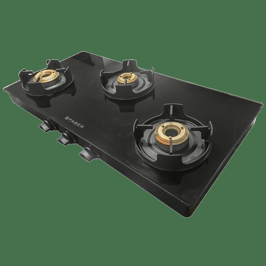 Faber Onyx 3BB BK CI 3 Burner Glass Gas Stove (Round Dip Tray, 106.0522.097, Black)