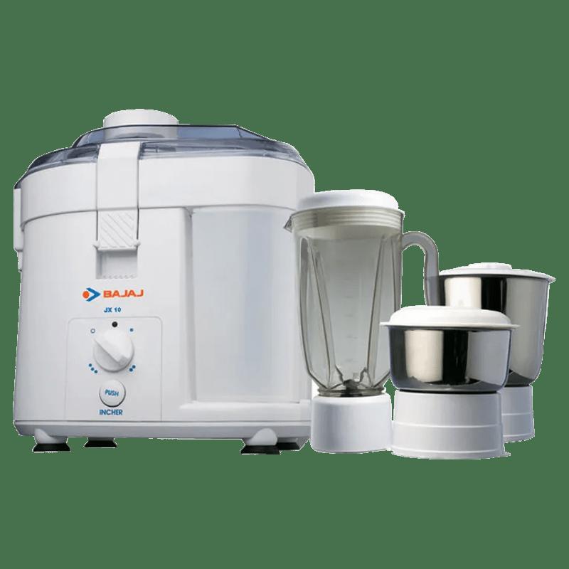 Bajaj 450 Watt Juicer Mixer Grinder (JX 10, White)